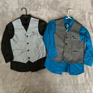 2 boys long sleeve shirts with vest size 8